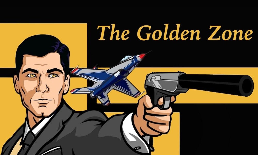 Archer standing behind a black and gold background with the words 'The Golden Zone'.